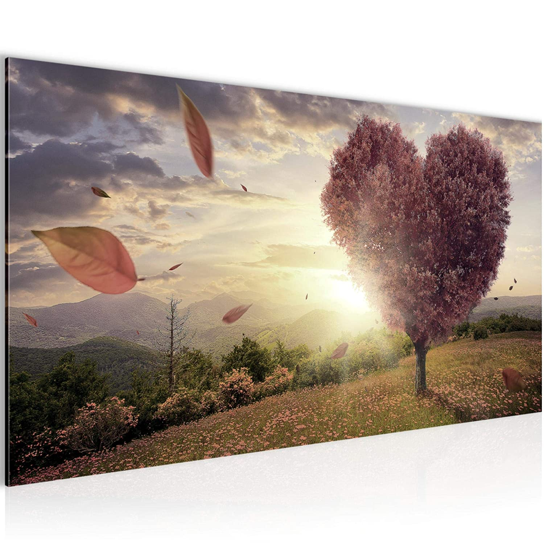 Kunstdruck Leinwand Vlies Bild Bilder Wandbild XXL Herbst Herz Baum Wanddeko