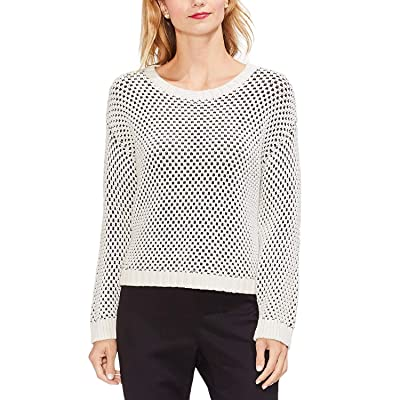Vince Camuto Textured-Stitch Sweater, Antique White, L at Women's Clothing store