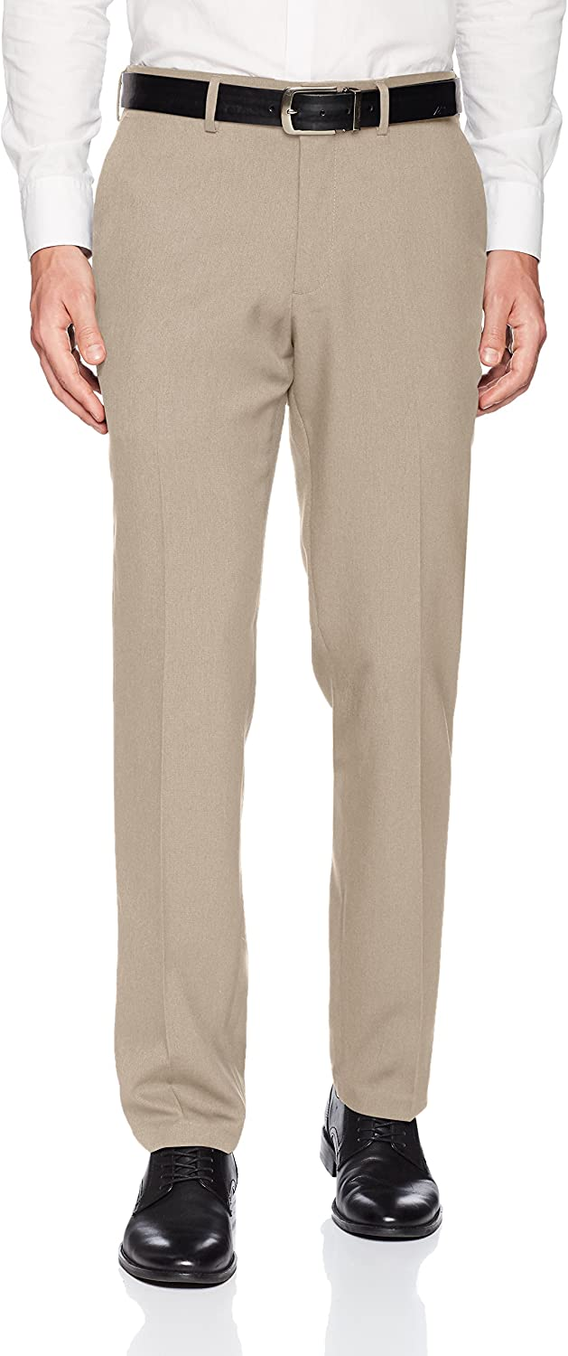 Kenneth Cole REACTION Mens Techni-Cole Mini Check Modern Fit Flat Front Dress Pant