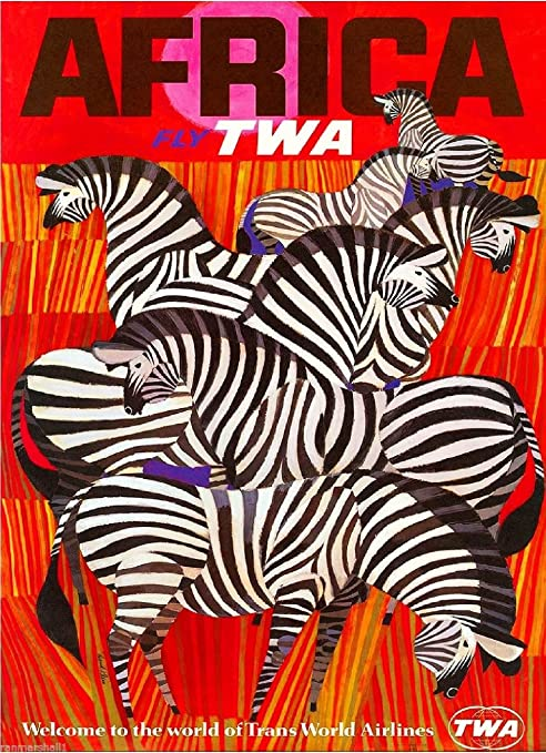 Vintage Travel Poster 1950s TWA Africa Zebra Trechikoff Retro Kitsch Atomic