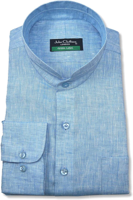 WhitePilotShirts Nehru Collar de Lino Azul Camisa Peaky ...