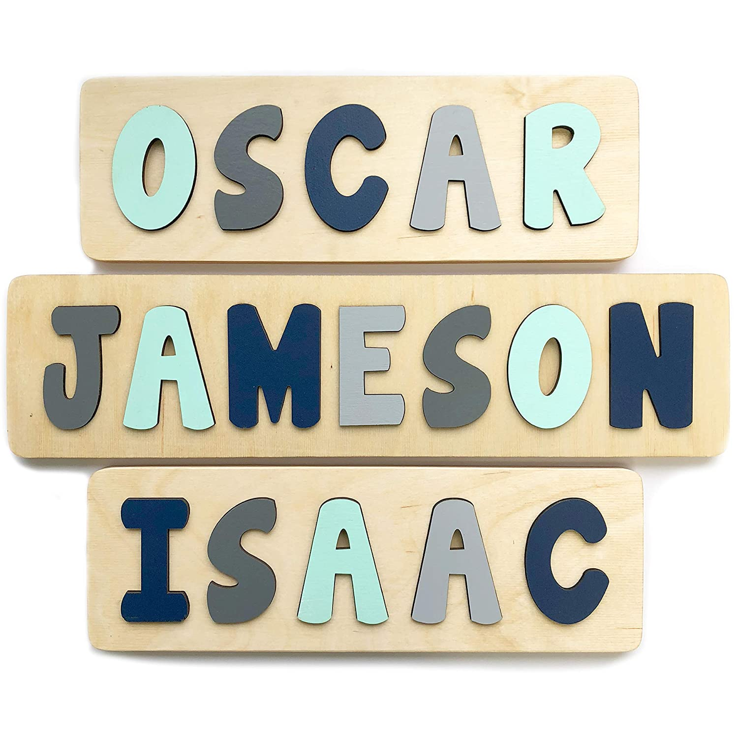 B07KMMD3BT Personalized Wooden Name Puzzle, Gift for One or Two Year Old Boy, Mint, Navy and Grey, Handmade in the USA by Page Brook Market 81VuPy9CZVL