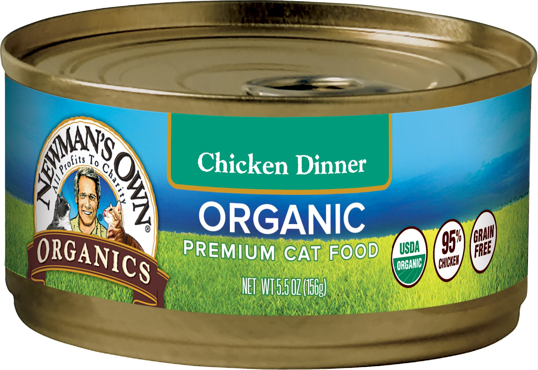 Newman's Own Organics 95% Chicken Dinner Grain-Free Food For Cats, 5.5-Ounce (Pack Of 24) by Newman's Own