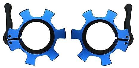 Kobo Juego de 2 barras de aluminio olímpicas de 50 mm de bloqueo rápido y liberación