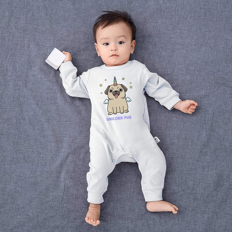 Baby Boys Unisex Funny Happy Unicorn Pug Footed Pajamas 100/% Cotton Soft Baby Pajamas