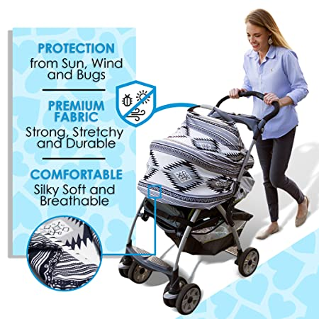 Aztec Nursing Scarf Baby Car Seat Canopy Shopping Cart Cover and Stroller Sunshade By SimpleTots for Boys /& Girls Multi Use The Perfect Baby Shower Gift for New Moms Breastfeeding Cover