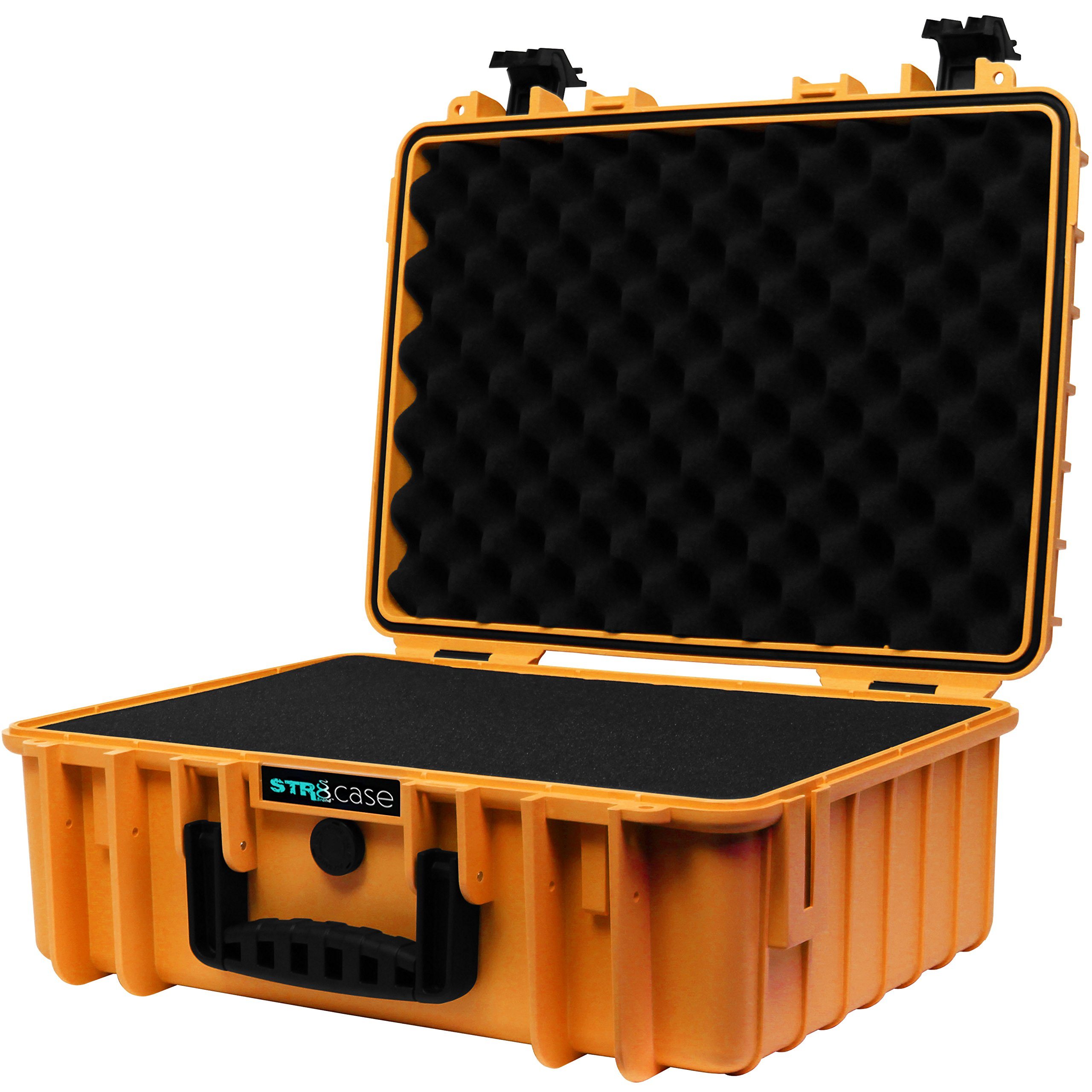 STR8Brand STR8 Brand 17'' with 3-Layer Pre Cut Grid Configuration Foam, Waterproof, Smell Proof, Lockable, Glass Protector, Outdoor Carrying Case for Multi-Purpose (Tangie Orange)