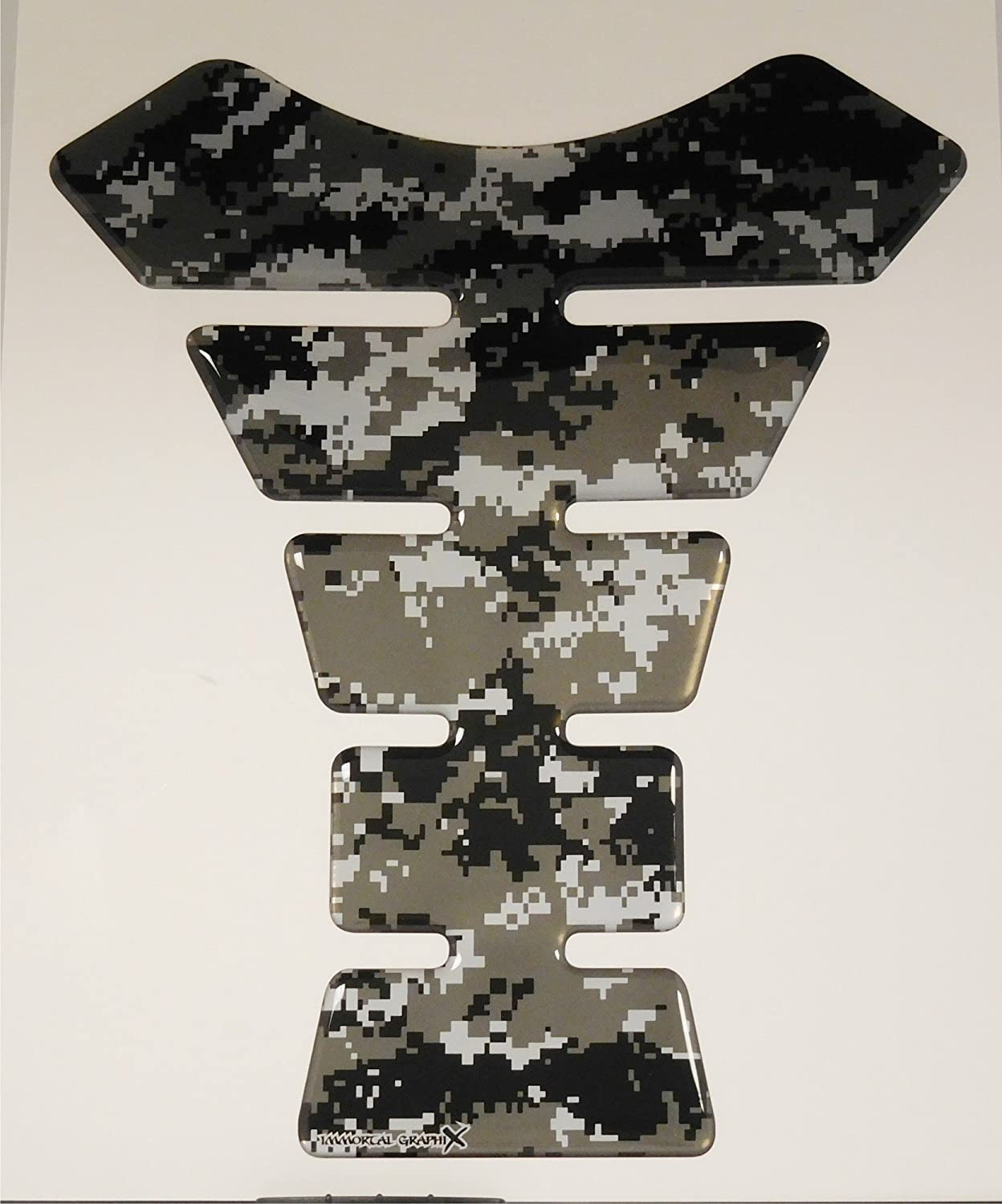 Size is 8.5 tall x 6.9 wide Digital Camouflage Gray Motorcycle Tank Pad tankpad Gel Protector