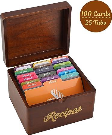 Akshaya - Caja de recetas de madera vintage con 100 tarjetas de recetas de 4 x 6