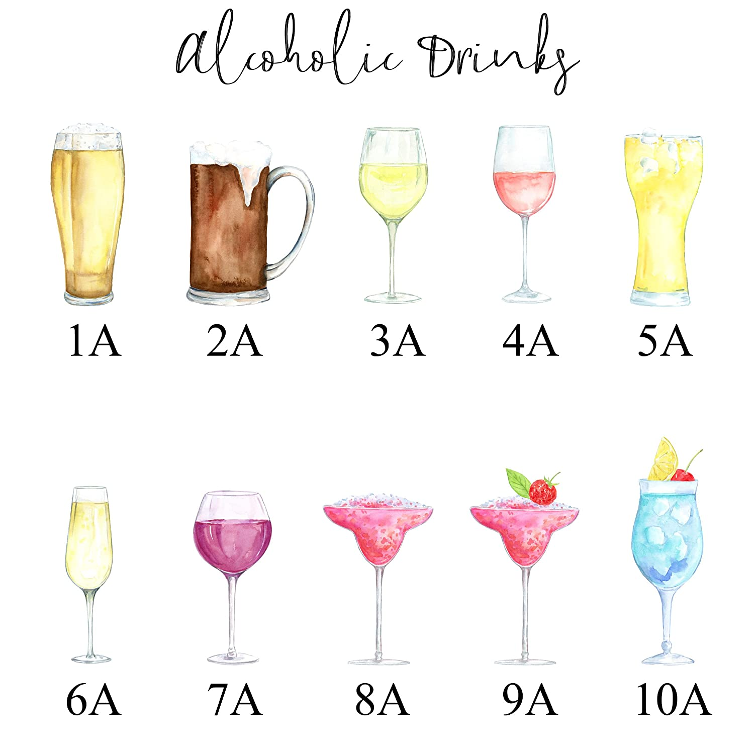 Drinks Family Print Fun Personalised Watercolour Poster A3 or A4