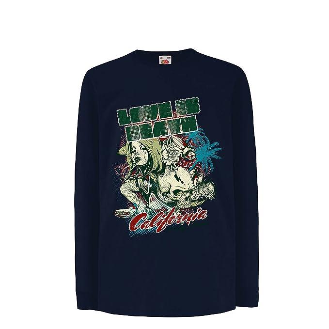 lepni.me Camiseta para Niño/Niña Love is Dead - California Love, CA Vintage tee, Cali Style: Amazon.es: Ropa y accesorios
