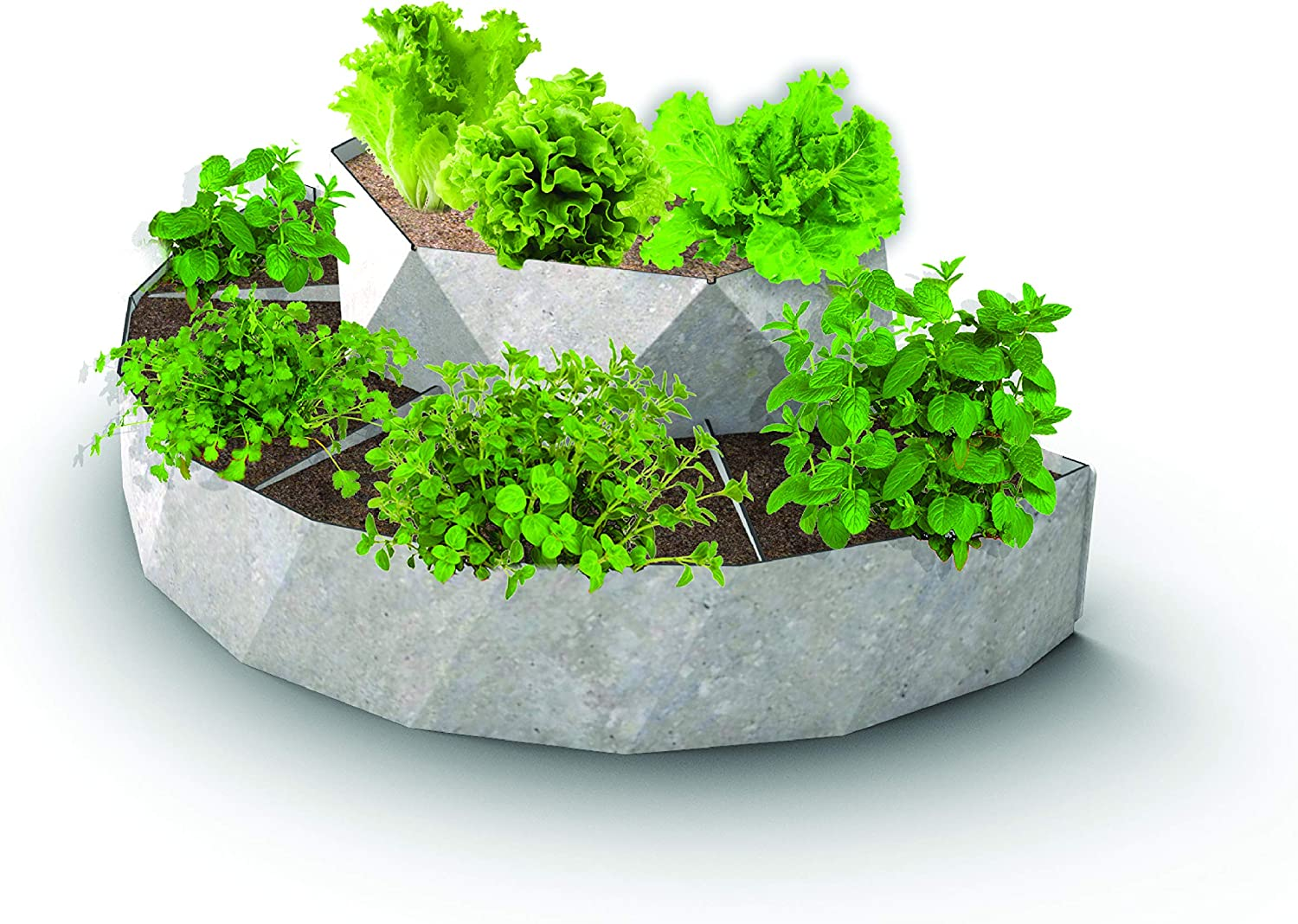 Palram Jenny Crescent Raised Garden Planter Box: 3D Gray Plastic 2-Tier, 5-Section, Half-Moon Modular Outdoor Flower Herb Vegetable Bed, 12x36x18 Inches
