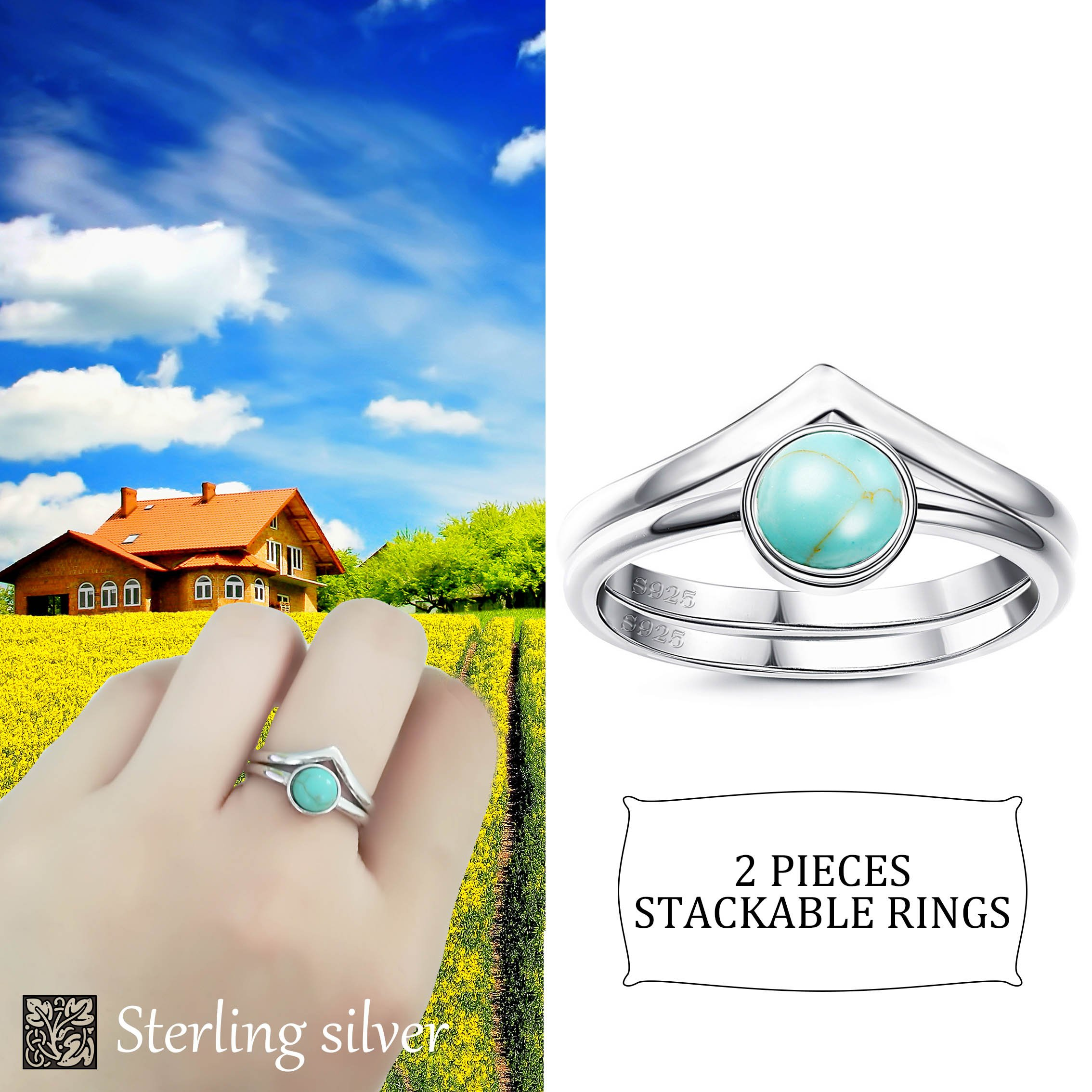FUNRUN JEWELRY 2 PCS Sterling Silver Stackable Rings for Women Girls Chevron Thumb Turquoise Rings Set High Polish Size 7
