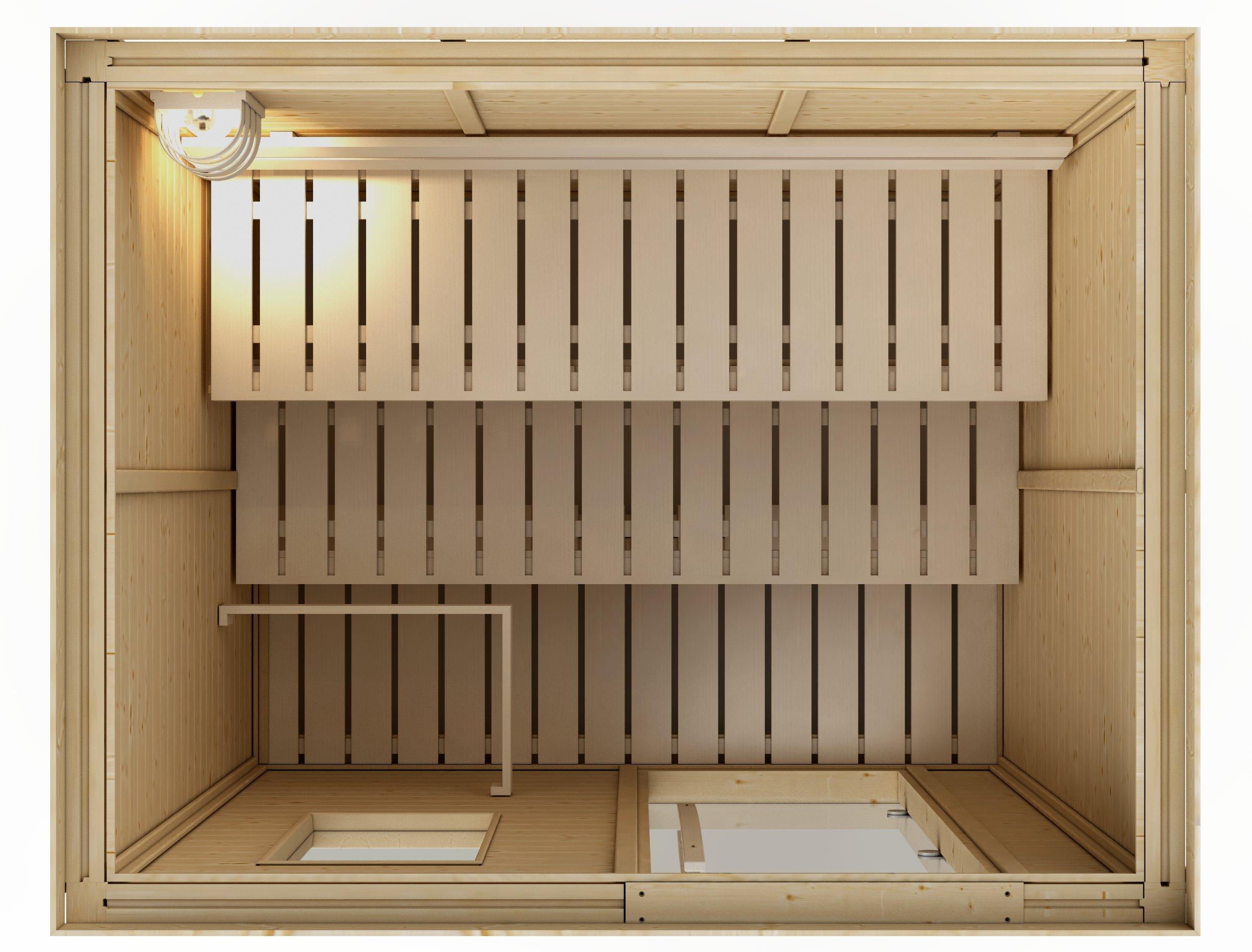 Goldstar 1250 Prebuilt Traditional Sauna w/ Canopy & Lights by Goldstar