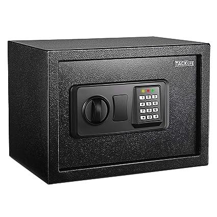 TACKLIFE - 14L Caja Fuerte (35 x 25 x 25 cm), con Cerradura Electrónica y Llave de Emergencia, Montable en la pared, Súper Seguridad, Puede Almacenar Documentos Importantes, Joyas, Efectivo-HES25A: Amazon.es: