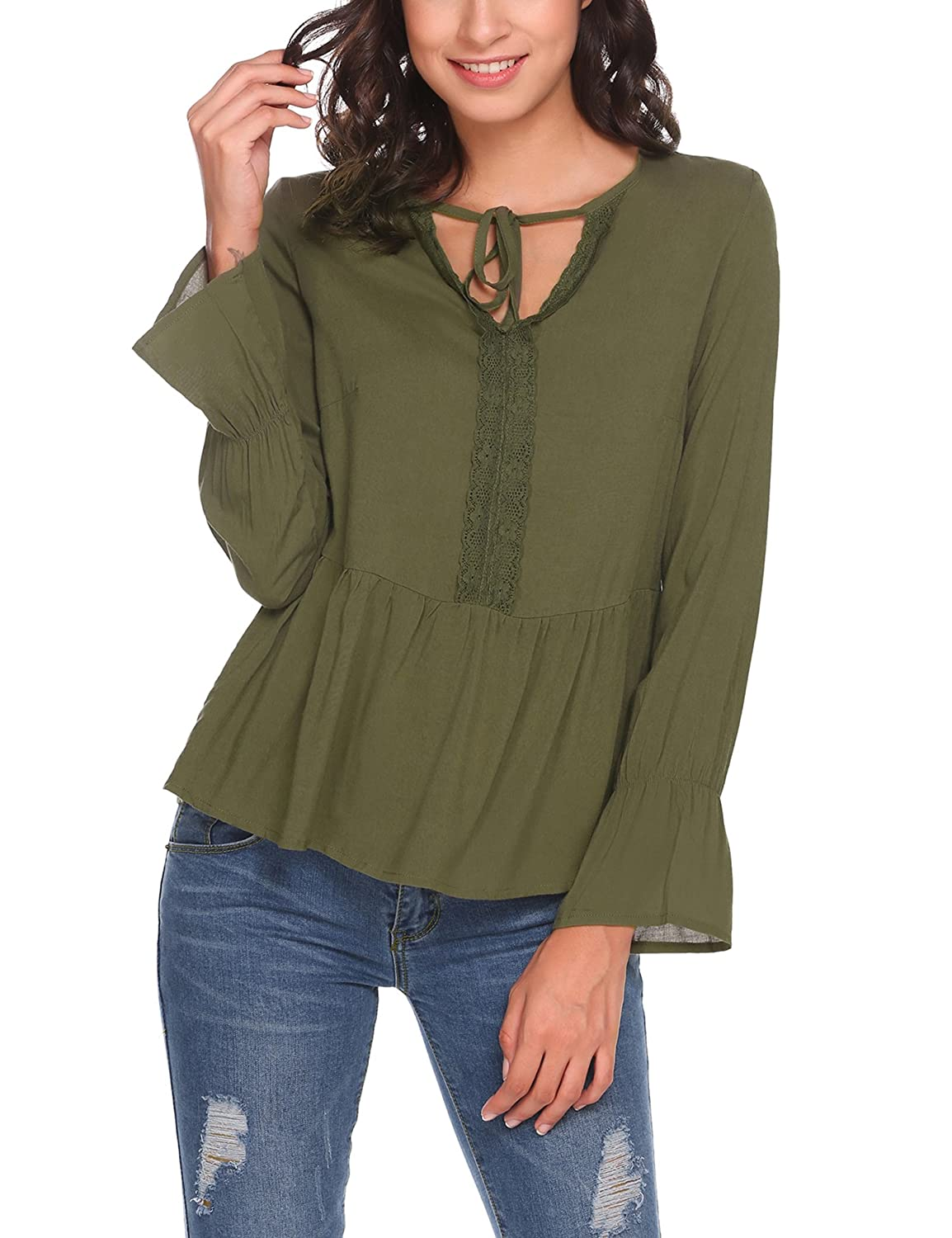 Meaneor Casual Women's Long Sleeve V Neck Lace up Shirt Ruffled Peplum Top