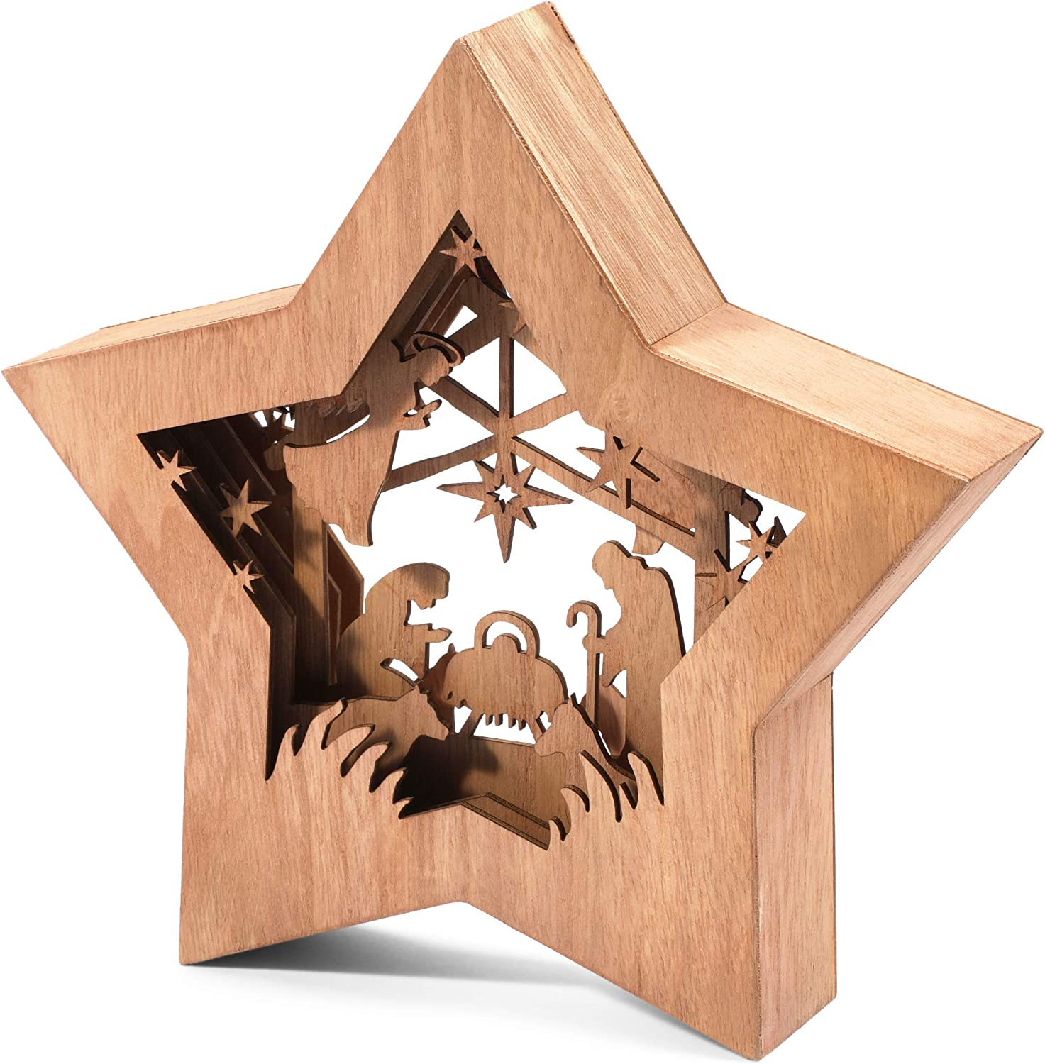 Christmas Nativity Set, Rustic Wooden Star Shaped Bible Scene (10.5 x 2 x 10 in)