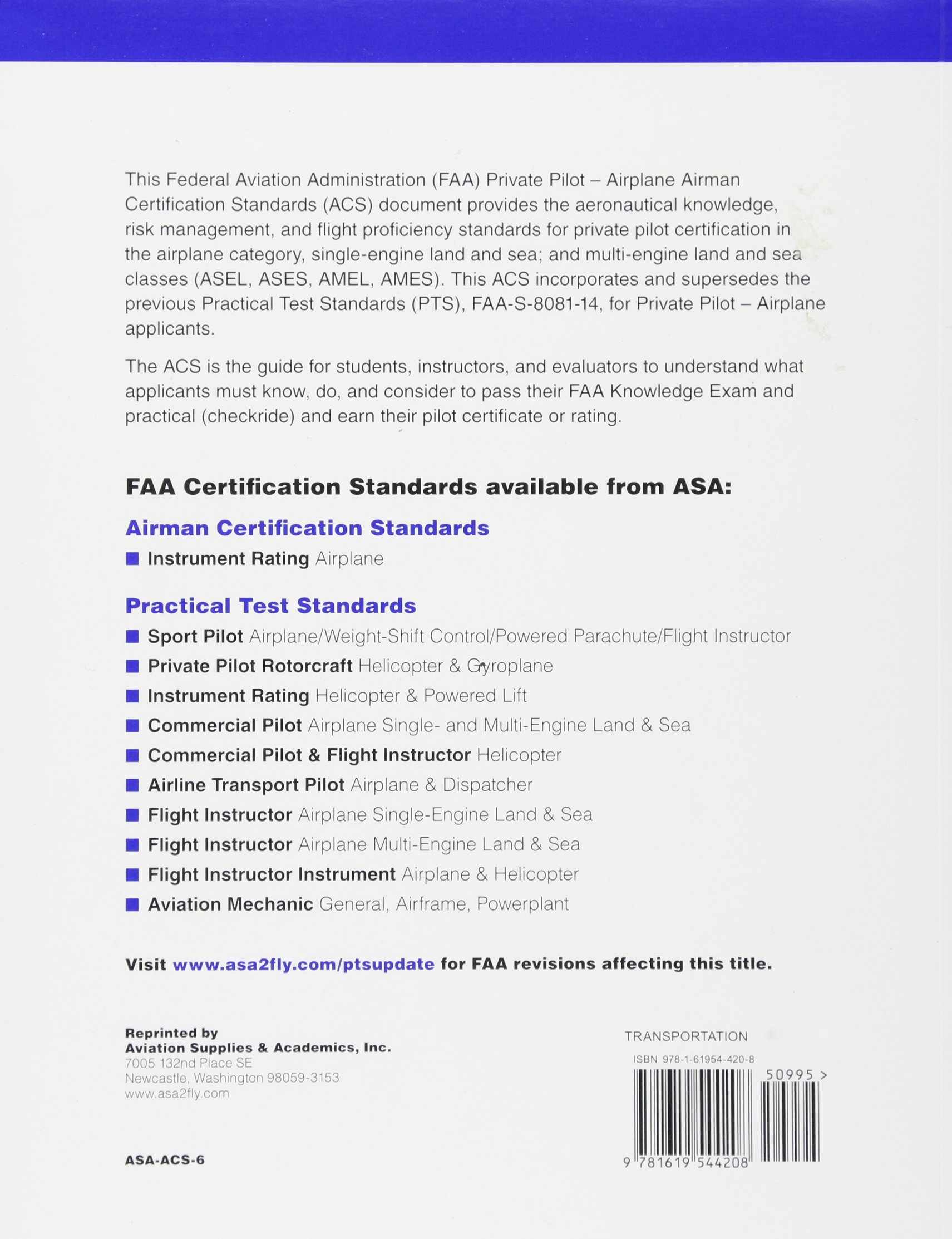 Private Pilot Airman Certification Standards Airplane Faa S Acs 6