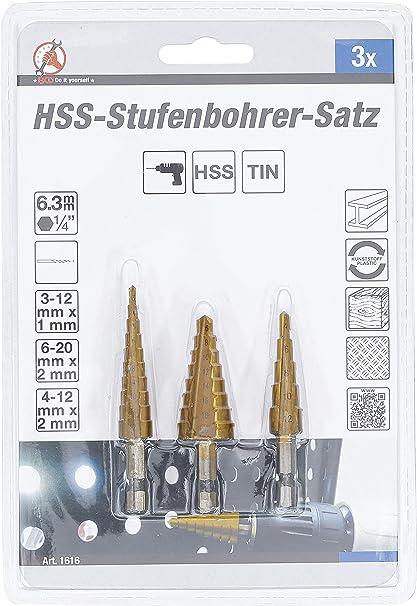 HSS Stufenbohrer Satz 3x Stahl Schälbohrer Konusbohrer Kegelbohrer 3-20mm Set