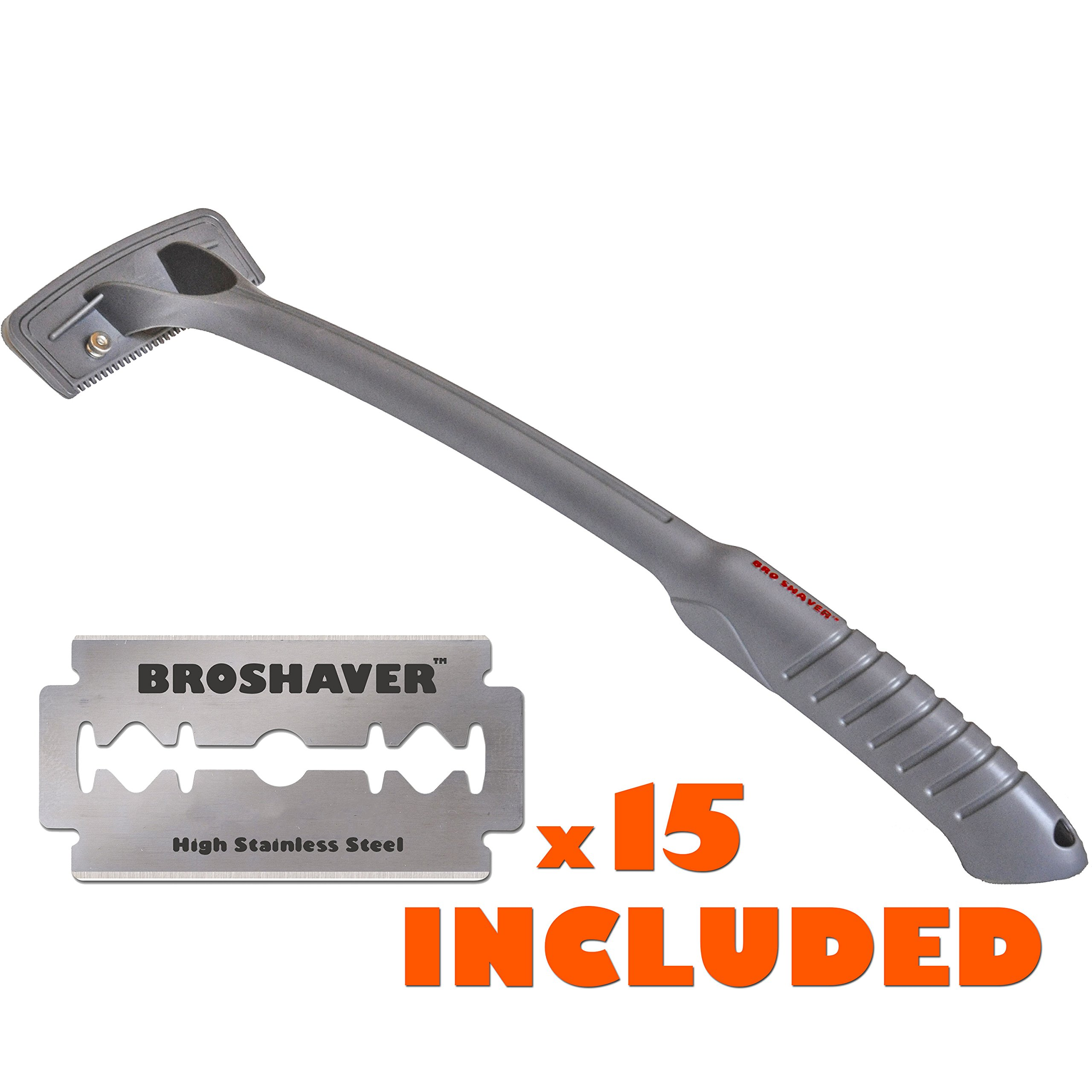 BRO SHAVER Back Hair Shaver, Uses Standard Double Edge (DE) Safety Razor Blades, Stainless Steel Bolts, Cheap refills, Blades cost pennies, 15 razors included, Do-it-yourself