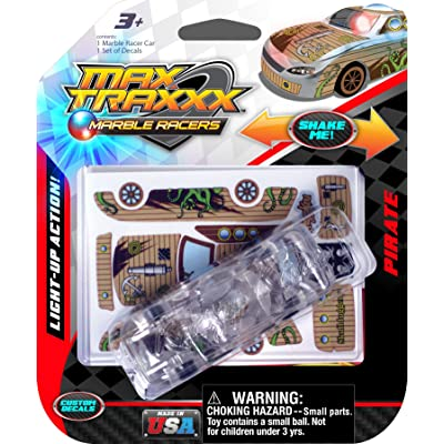 Max Traxxx Award Winning Pirate Light Up Marble Racer Gravity Drive 1:64 Scale Car: Toys & Games