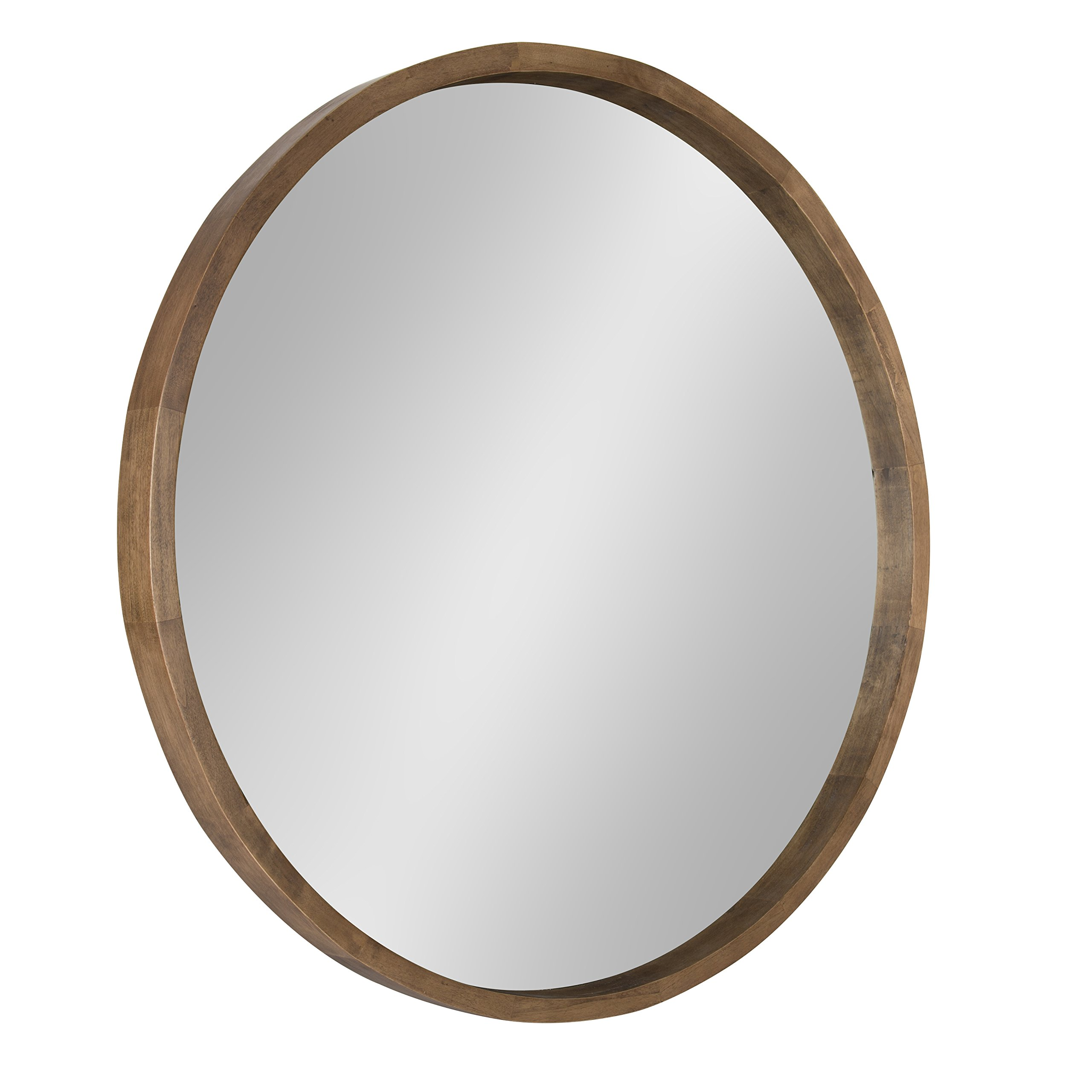 Kate and Laurel - Hutton Round Decorative Wood Frame Wall Mirror, 30 Inch Diameter, Natural Rustic Brown