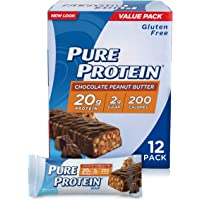 Pure Protein Bars, High Protein, Nutritious Snacks to Support Energy, Low Sugar, Gluten Free, Chocolate Peanut Butter, 1.76oz, 12 Pack