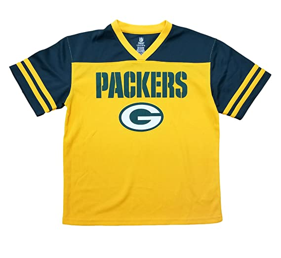4f6a8bfb1 Green Bay Packers Yellow NFL Youth Team Apparel V Neck Jersey (X-Small 4