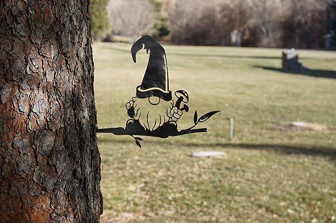 Steel Branch Gnome Decoration | Metal Art | Fairy Garden Art | Backyard Art  | Tree Art | Silhouette Art | Corten Steel | Patina Rust : Garden & Outdoor  - Amazon.com