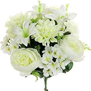 Admired By Nature GPB7813-CREAM Artificial Mix Flower Bush, Peony Dahlia Hydrangea - cm