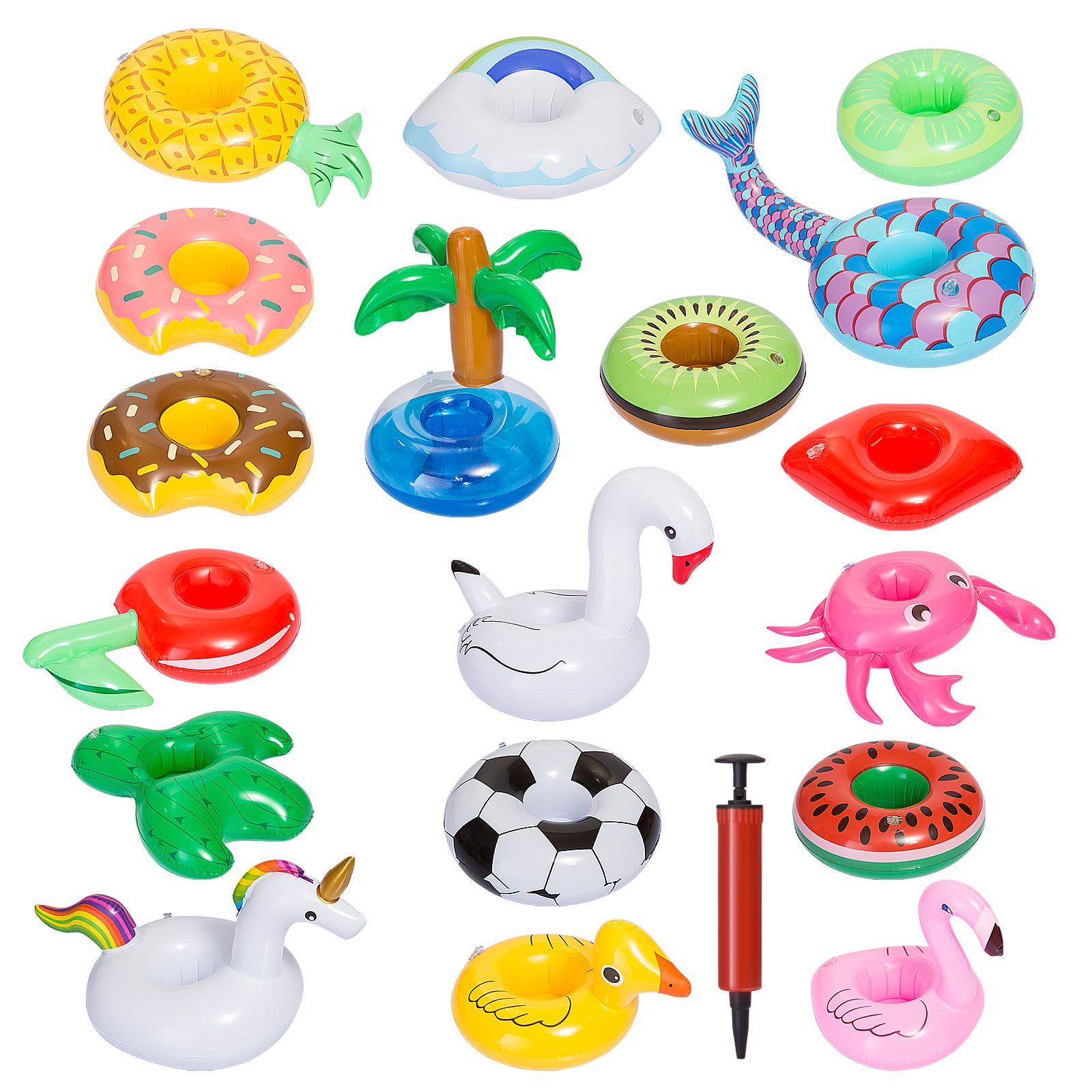 GWHOLE 18 Pack of Inflatable Drink Holders with Air Pump, Drink Floats Inflatable Cup Coasters for Kids Toys and Pool Party by GWHOLE