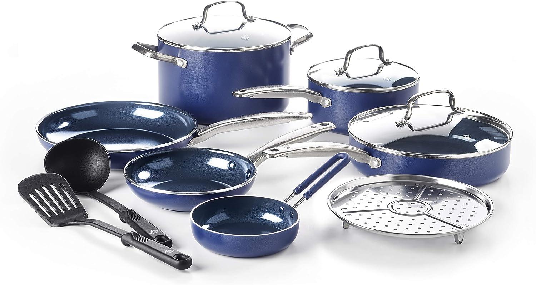 Blue Diamond Toxin-Free Ceramic Non-Stick Cookware Set, 12-Piece - Dishwasher, Oven, Broiler, Metal Utensil Safe