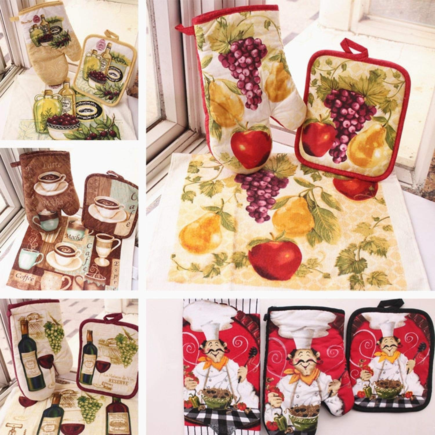 Cotton Kitchen Fruit Coffee Designs Oven Mitts Gloves Potholders Towels As Kitchen Tool Set Bakeware Heat-Resistant Gloves