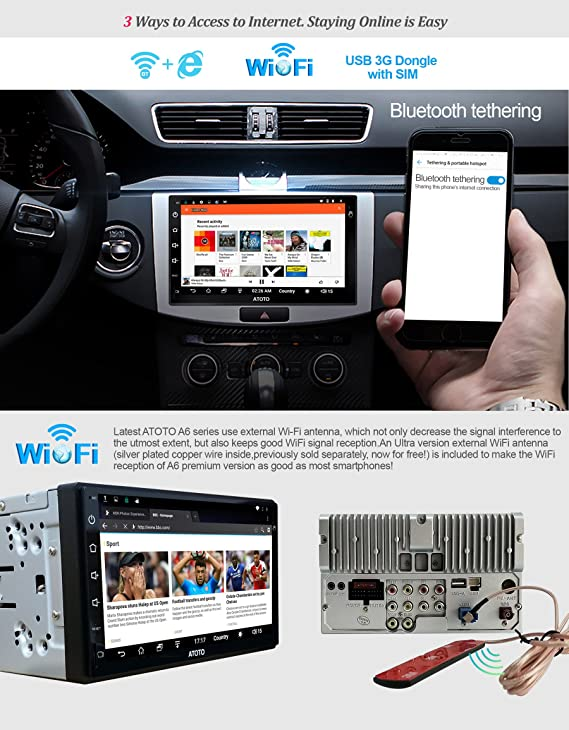 ATOTO A6 2DIN Android Car Navigation Stereo con Dual Bluetooth - Premium Car Entertainment Multimedia Radio, WiFi/BT Tethering internet, soporte 262G SD y ...
