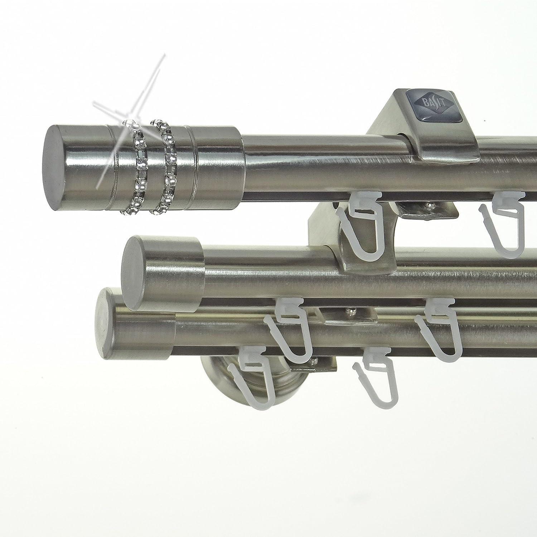 Innenlauf Edelstahl Look Gardinenstange 20mm Wandträger 3-läufig mit Kristall Zylinder H60 E80E30 II+ 1x B20I, Länge 240 cm