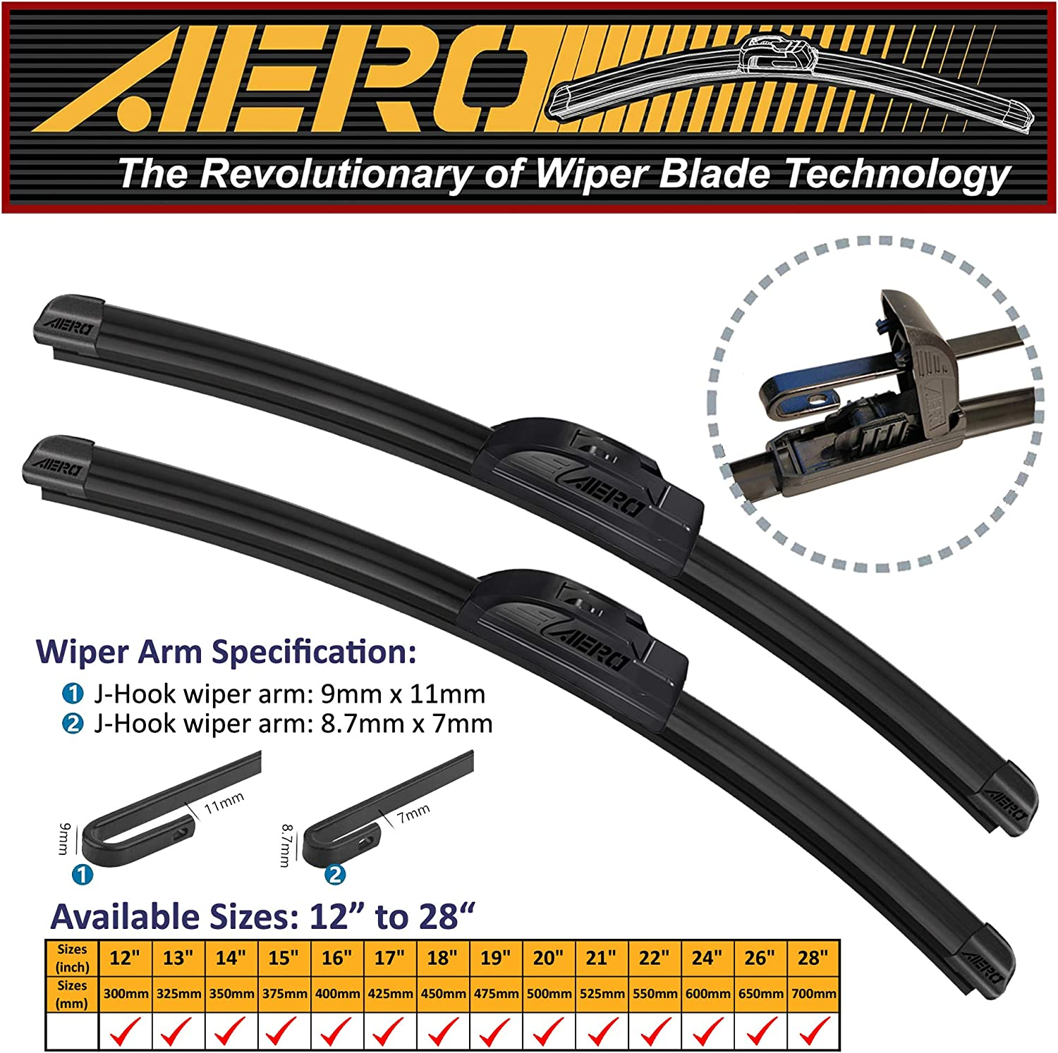 "OEM QUALITY 21"" + 18"" AERO Premium All-Season Windshield Wiper Blades (Set of 2)"