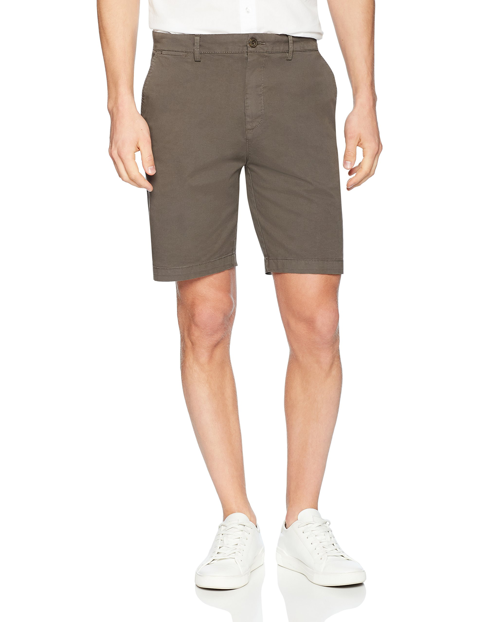Goodthreads Men's 9'' Inseam Flat-Front Stretch Chino Shorts, Eiffel Tower, 38