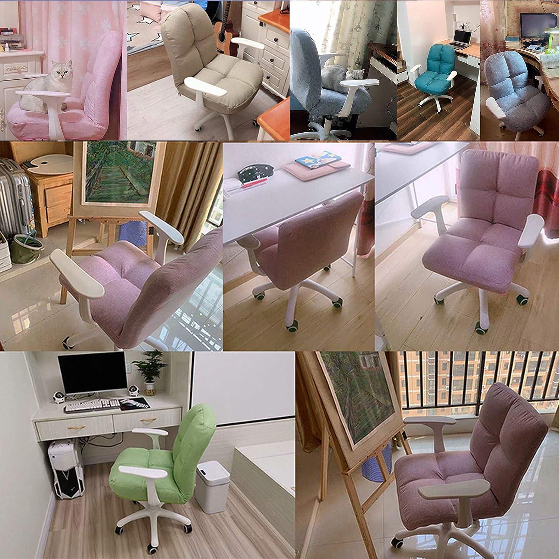 Sovrum svängbar soffa stol ryggstöd datorstol ergonomisk skrivbordsstol justera rullstol med linne tyg svamp avtagbar och tvättbar kudde, grå + blå, enkel möbler Rosa