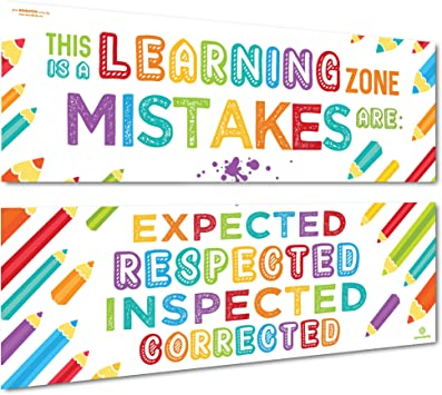 Amazon Com Sproutbrite Classroom Banner Posters For Decorations Learning Zone Educational Motivational Inspirational Growth Mindset For Teacher Students 2 Poster Pack Everything Else