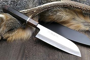 Yoshihiro Hayate ZDP 189 Super Blue High Carbon Stainless Steel Santoku Chefs Knife 65 Inch