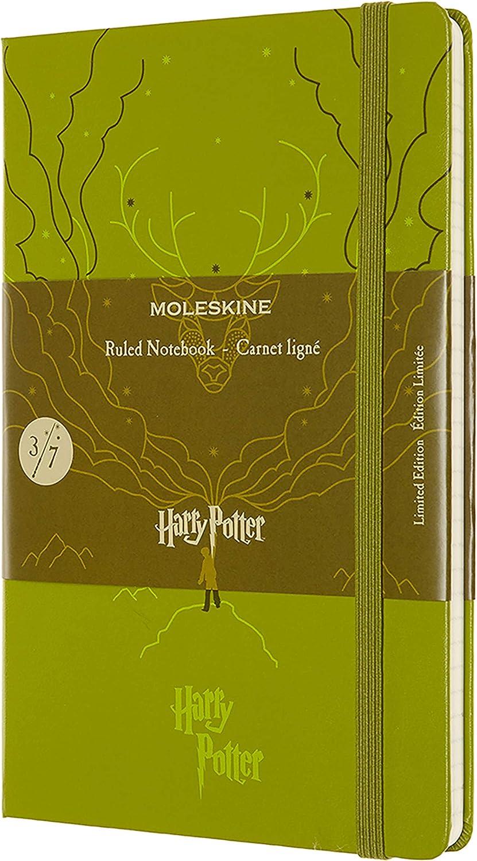 Moleskine, Cuaderno Harry Potter, Tema Espectro Patronum, Edición Limitada, Hojas con Rayas, Tapa Dura, Tamaño Grande 13 x 21 cm, Color Verde Oliva, ...