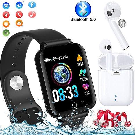 Smartwatch, Reloj Inteligente Pulsera de Actividad Inteligente Impermeable IP68 Pulsómetros Podómetro Monitor de Sueño Calorías, para iPhone Android ...