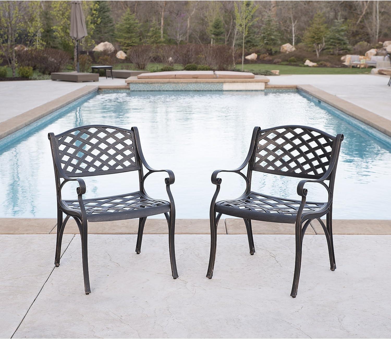 Walker Edison Furniture Cast Aluminum Patio Chairs (Set of 2), Antique Bronze
