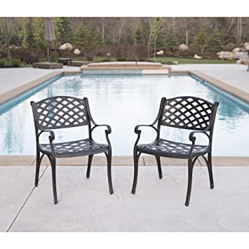 Amazon Com We Furniture Cast Aluminum Patio Chairs Set Of 2