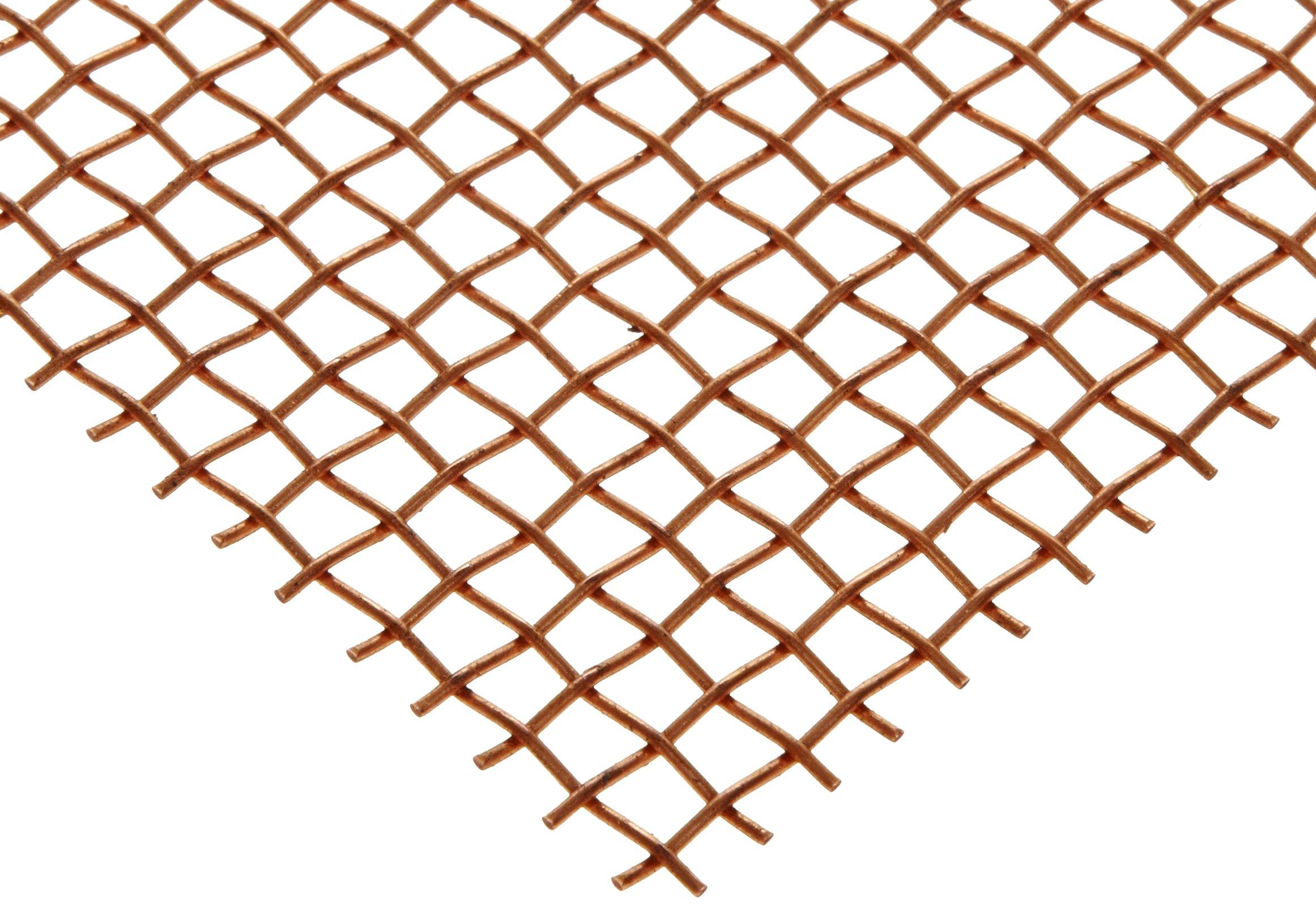 Copper Woven Mesh Sheet, Unpolished (Mill) Finish, ASTM E2016-06, 12'' Width, 24'' Length, 0.0045'' Wire Diameter, 30% Open Area