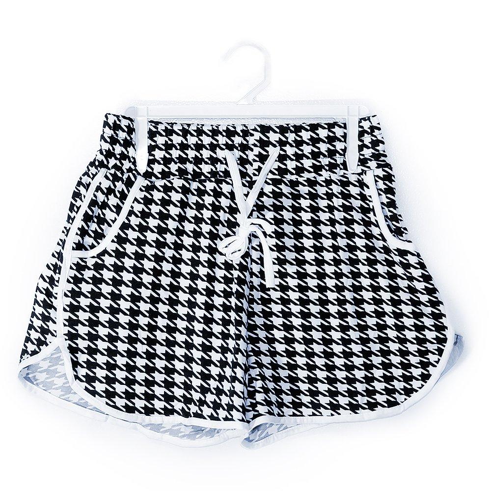 Glass House Apparel Women's Summer Casual High Waist Beach Shorts (Small/Medium, Black White Diamond)
