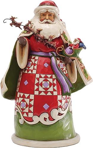 Jim Shore for Enesco Heartwood Creek Santa Holding Sleigh Figurine, 10-Inch