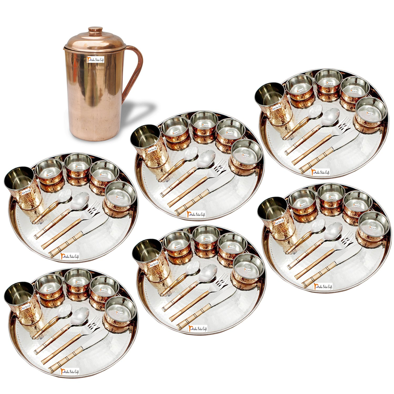 Prisha India Craft ® Set of 6 Dinnerware Traditional Stainless Steel Copper Dinner Set of Thali Plate, Bowls, Glass and Spoons, Dia 13'' With 1 Pure Copper Pitcher Jug - Christmas Gift