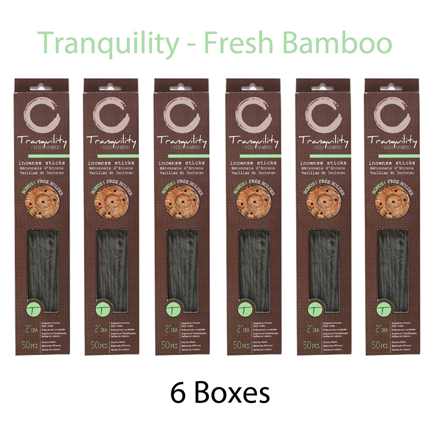 Hosley Candle Company Fresh Bamboo (Tranquility) Incense Sticks - Set of 6 / 50 sticks per box with bonus holder. Ideal for Spa, Aromatherapy, Everyday Use. HG Global AMH62749S
