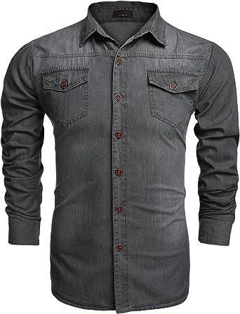 Coofandy Camisa Jean Hombre Moda Manga Larga Slim Botones Casual Gris Talla-S: Amazon.es: Ropa y accesorios
